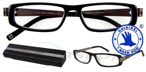 New York Design-Acetatbrille schwarz-gun