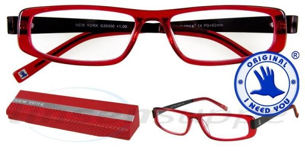 New York Design-Acetatbrille rot-schwarz