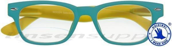 Woody Selection Retro-Kunststoffbrille türkis-gelb