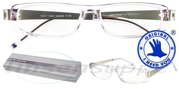 New York Design-Acetatbrille kristall-silber