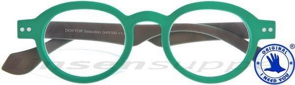 Doktor Selection Retro-Kunststoffbrille grün-grau