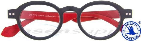 Doktor Selection Retro-Kunststoffbrille anthrazit-rot